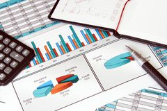 Di affari vita ancora con lo Stats di finanze Fotografie Stock