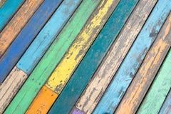 di assi del pavimento di legno colorate Multi Fotografie Stock