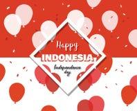 17 di augusto sul fondo del fuoco d'artificio l'insegna per celebra la festa nazionale dell'Indonesia Indipendenza felice dell'In Fotografie Stock Libere da Diritti