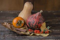 Di autunno lifes ancora con le zucche ed il cachi Fotografia Stock
