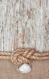 Di carta invecchiato con la corda e la conchiglia della nave Fotografia Stock Libera da Diritti