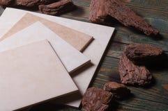 Di ceramica, di legno, foglio Immagine Stock