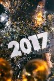 ` 2017 di Champagne New Year s Eve Grunge Background Fotografia Stock