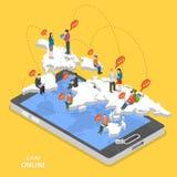Di chiacchierata concetto piano isometrico di vettore online Immagini Stock
