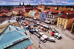 18/06/2016 di città di Chomutov, repubblica Ceca - vista del sud dal ' Mestska vez' torre alla città storica Fotografie Stock