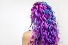 Di coloritura di capelli colorata multi luminosa, tonalit? porpora di pendenza e rosa blu Bei capelli fotografia stock