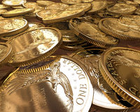 Gold Dollar coins close up. Group of gold dollars coins spread on a table Stock Illustration