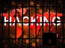 Di Cybersecurity del pirata informatico illustrazione di attacchi cyber online 2d royalty illustrazione gratis