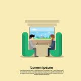 Di due uomini nell'insegna di viaggio di festa di vacanza del compartimento del treno illustrazione di stock