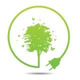 Di ecologia dell'albero illustrazione verde in condizioni ambientali Immagine Stock