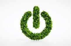 Di ecologia di potere immagine domestica naturale del bottone sopra con fondo bianco Fotografie Stock
