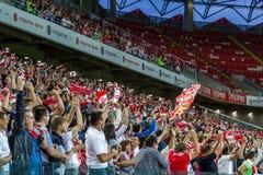 17/07/15 di fan di Spartak 2-2 Ufa Immagini Stock