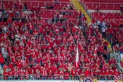17/07/15 di fan di Spartak 2-2 Ufa Fotografie Stock Libere da Diritti