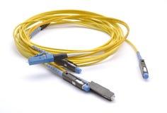 Di fibra ottica con i connettori Immagini Stock