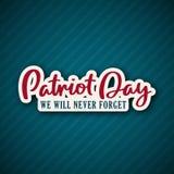 9/11 di fondo di giorno del patriota con iscrizione illustrazione di stock