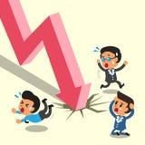 Di fuga del fumetto gente di affari dalla freccia del mercato azionario Fotografia Stock Libera da Diritti