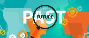 Di futuro di passato concetto ora di pensiero che spiana domani i pensieri di mindset di analisi illustrazione vettoriale