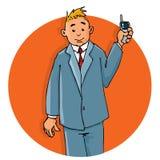 Di impiegato del fumetto sul telefono Fotografia Stock