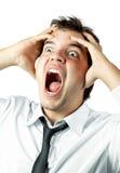 Di impiegato pazzo gridando di sforzo isolati Fotografia Stock Libera da Diritti