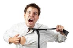 Di impiegato pazzo gridando di sforzo isolati Fotografia Stock