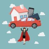 Di indebitamento di trasporto del supereroe della donna di affari Immagine Stock