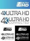 di 4K etichette ultra HD Fotografie Stock Libere da Diritti