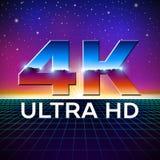 di 4k logo di formato ultra HD con le lettere brillanti del cromo Fotografia Stock Libera da Diritti