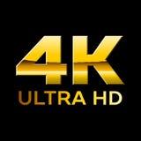 di 4k logo di formato ultra HD con le lettere brillanti del cromo Fotografia Stock