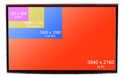 di 4K risoluzione ultra HD sopra sulla TV moderna Fotografie Stock