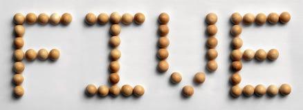 ` Di legno del ` cinque di arte di parola della puntina fotografia stock