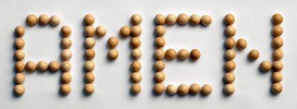 ` Di legno del ` di arte di parola della puntina Amen Fotografia Stock