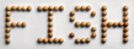 ` Di legno del pesce del ` di arte di parola della puntina Fotografia Stock Libera da Diritti
