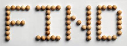 ` Di legno del ritrovamento del ` di arte di parola della puntina fotografia stock