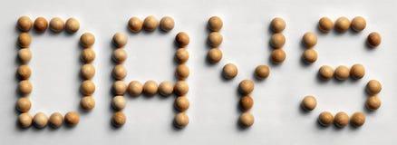 ` Di legno di giorni del ` di arte di parola della puntina Fotografia Stock Libera da Diritti