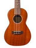 Di legno di mogano delle ukulele dello strumento musicale su backgroun bianco Immagini Stock