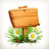 Di legno firmi dentro un'erba illustrazione vettoriale