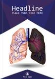 Di libro della copertina di progettazione poli polmoni in basso e wi umani realistici del bronco illustrazione di stock