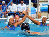DI MARIO Tania (ITA, 7) the captain of Italy defending against french players. Stock Images