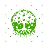 Di melo verde di vettore con le radici illustrazione di stock