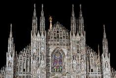Di Milano del Duomo entro la notte Fotografia Stock