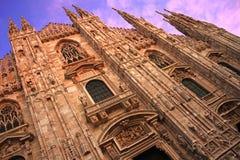 Di Milano, vista obliqua del Duomo Fotografia Stock Libera da Diritti