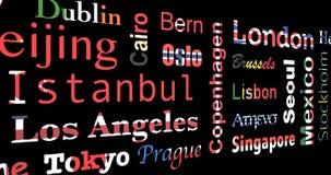 di mosaico colorato di bandiera dei nomi delle città, ciclo illustrazione vettoriale