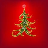 Di natale albero rosso swirly con gli elementi floreali Immagini Stock Libere da Diritti