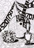 ` Di natura morta di Digital del ` del disegno dell'inchiostro del ` s dei bambini illustrazione di stock