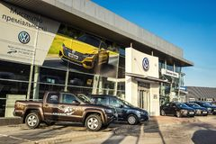 16 di novembre - Vinnitsa, l'Ucraina Sala d'esposizione del VW di Volkswagen Fotografie Stock