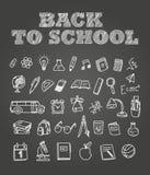 Di nuovo agli scarabocchi del gesso dello scholl Clipart degli elementi di istruzione per il de Fotografia Stock Libera da Diritti