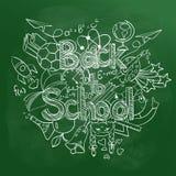Di nuovo agli scarabocchi della scuola su una lavagna verde Fotografia Stock Libera da Diritti