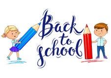 Di nuovo ai bambini del ute dell'iscrizione della scuola e del  di Ñ con la matita illustrazione di stock