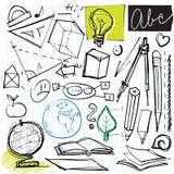 Di nuovo ai doodles del banco illustrazione di stock