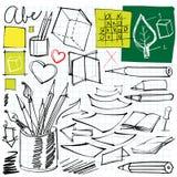 Di nuovo ai doodles del banco illustrazione vettoriale